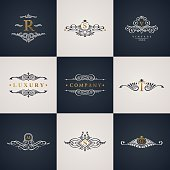 Luxury logo monogram set. Vintage royal flourishes elements. Calligraphic symbol ornament. Letter R, S, V, T, M, G. Vector pattern emblem. Calligraphic design frame