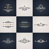 Luxury logo monogram set. Vintage royal flourishes elements. Calligraphic symbol ornament. Letter R, S, V, T, M, G. Vector pattern emblem. Calligraphic design frame