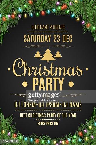 Luxus-Plakat für eine Weihnachtsfeier. Weihnachtsbaum auf einem schwarzen Hintergrund. Festlichen Hintergrund. Gold Text mit Beschreibung. Bunt leuchtende Girlande. Vektor-illustration : Vektorgrafik
