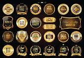 Luxury retro badges gold and silver collection