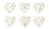 Luxury vector collection of polygonal hearts. Invitation template. Set geometric shape.