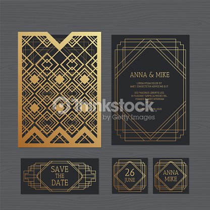 Luxury wedding invitation or greeting card with geometric ornament paper lace envelope template wedding invitation envelope mock up for laser cutting vector illustration stopboris Images