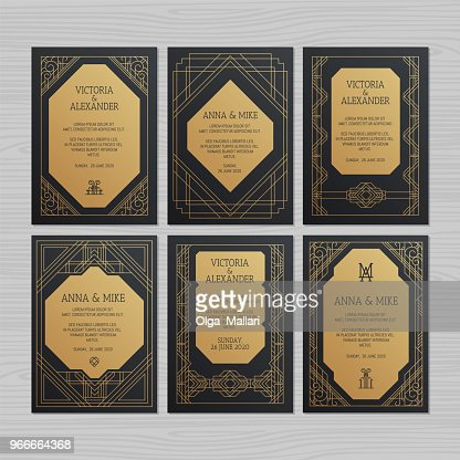 Luxury wedding invitation or greeting card with geometric ornament. Art Deco style. Vector illustration. : stock vector