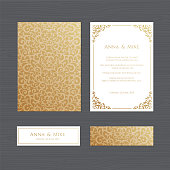 Luxury wedding invitation or greeting card with vintage gold ornament. Vector illustration.