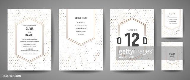 Lujo guardar la fecha de la boda, invitación tarjetas de colección con hoja de oro lunares y monograma logotipo plantilla de diseño de vectores : arte vectorial