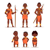 Maasai couple african people in traditional clothing happy person families vector illustration. Family american adult ethnic men and childrens.