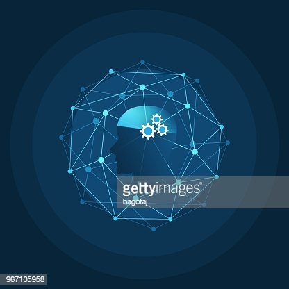 Machine Learning, Artificial Intelligence, Cloud Computing and Networks Design Concept : Vector Art