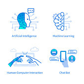 Technology concept - machine learning and artificial intelligence. Flat line modern vector illustration isolated on white background.