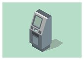 simple illustration of an ATM machine in isometric view