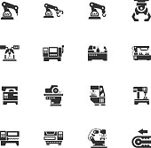 Vector machine tool icons set. Work and factory, production industrial technology, equipment construction illustration