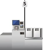 Vector self checkout machine. Grey metal register with touchscreen, options for cards and cash payment. Bagging area. Isolated object on white background