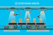Vector machine conveyor. Machinery industrial factory packaging belt line illustration
