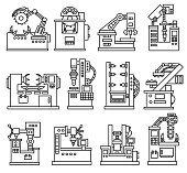 machines for production icons set. Machine for the processing of various materials, flat design. isolated vector illustration