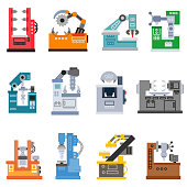 Machine for the processing of various materials, flat design. isolated vector illustration