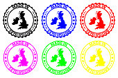 Made in British Isles - rubber stamp - vector, British Isles map pattern - black, blue, green, yellow, purple and red