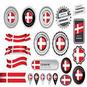 Made in Denmark Seal, Danish Flag (Vector Art)