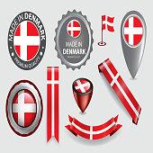 Made in Denmark Seals, Danish Flag (Vector Art)