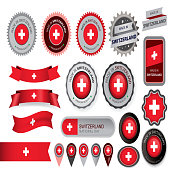 Made in Switzerland Seal, Swiss Flag (Vector Art)