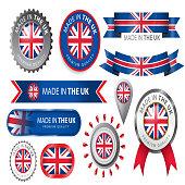 Made in UK Seal, UK Flag (Vector Art)