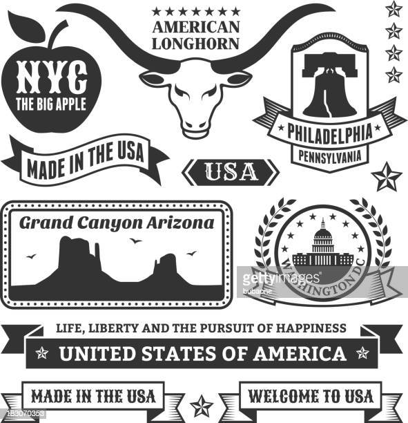 Made In USA royalty free vector black & white icons