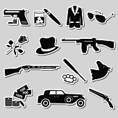 mafia criminal black symbols and stickers set eps10