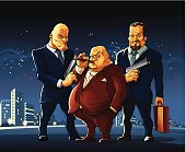 Three men of a mafia clan arrived at the meeting for a exchange secret suitcase.