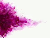 Magenta watercolor big blot spread to the light background. Abstract vector composition for the bright design.