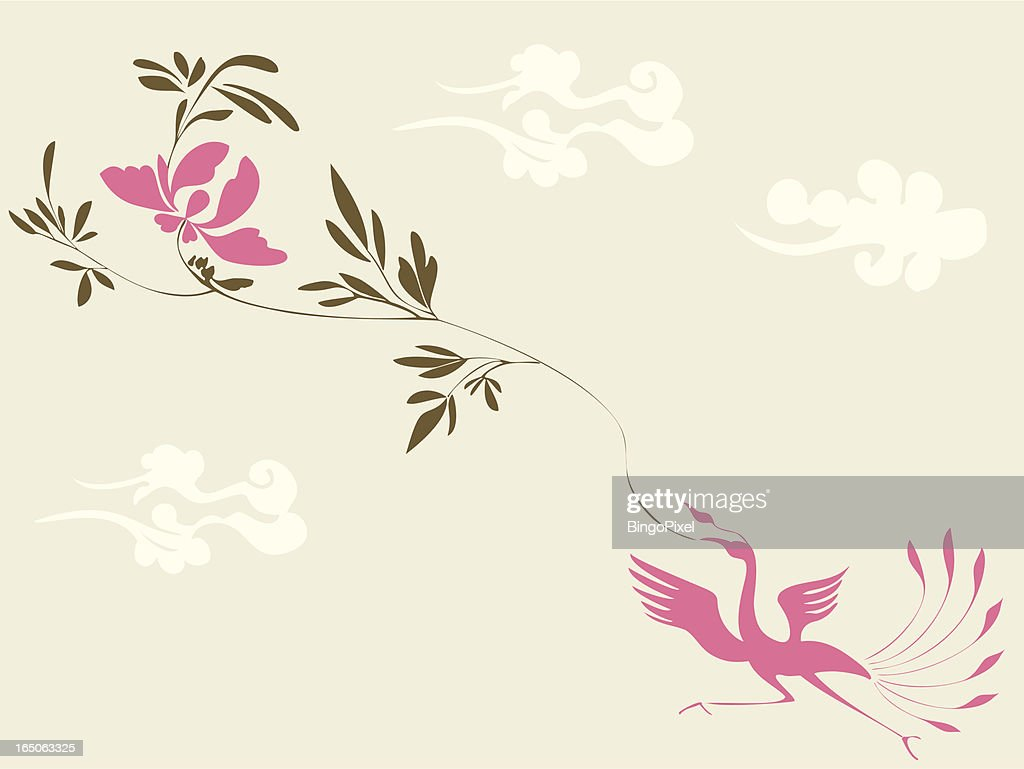 Magic Bird & Plant : Vector Art