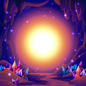 Magic cave. Fairy landscape of a cave with crystals and mystery lights. Fantasy background. vector illustration