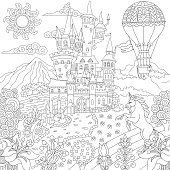 Coloring Page Of Fairytale Landscape With Vintage Castle Unicorn Flowers Hot Air Balloon