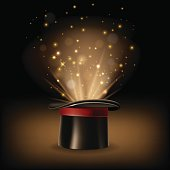 Magic hat with magic lights on dark brown background. Vector illustration.