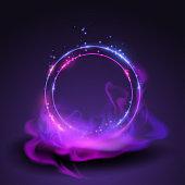 Magic neon rings in vector