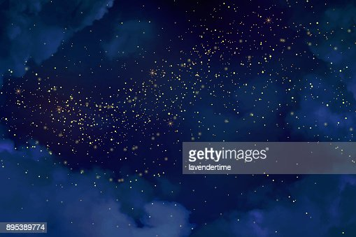 Magic night dark blue sky with sparkling stars. : Vector Art