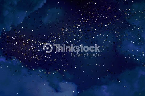 Magic night dark blue sky with sparkling stars. : stock vector