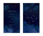 Magic night dark blue sky with sparkling stars vector vertical banner. Cassiopeia galaxy. Gold glitter powder splash background. Golden scattered dust. Midnight milky way. Fairytale magic cards.
