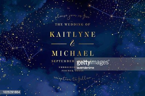 Cielo azul oscuro de la noche mágica con brillantes estrellas vector de la boda en : Arte vectorial
