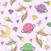 magic seamless pattern with unicorn and planets - vector illustration, eps
