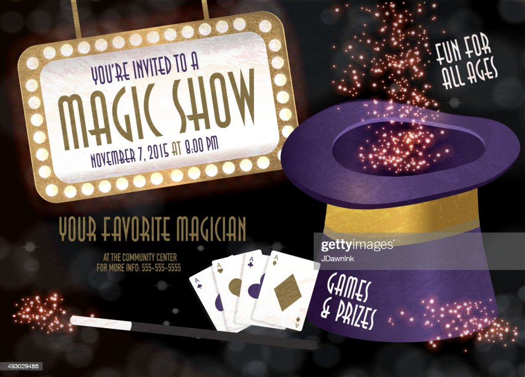 magic show entertainment night invitation design template vector art