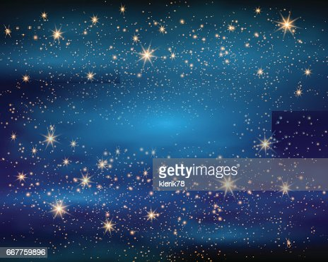 Magic Space. Fairy Dust. Infinity. Abstract Universe Background. Blue Gog and Shining Stars. Vector illustration : Vector Art