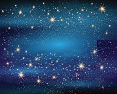 Magic Space. Fairy Dust. Infinity. Abstract Universe Background. Blue Gog and Shining Stars. Vector illustration.