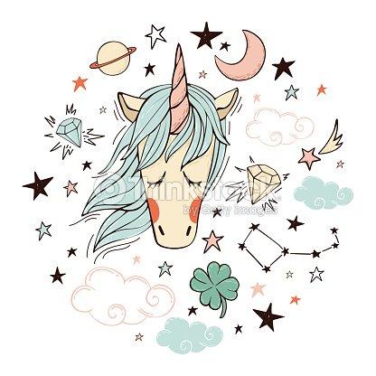 Unicornio Mágico En Color Arte vectorial   Thinkstock