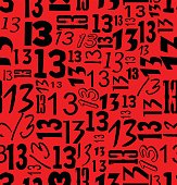 Magic unlucky number thirteen, typographical seamless background with black 13 on red area, vector EPS 10