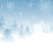 Winter Holiday Background with Snowy Winter Forest.