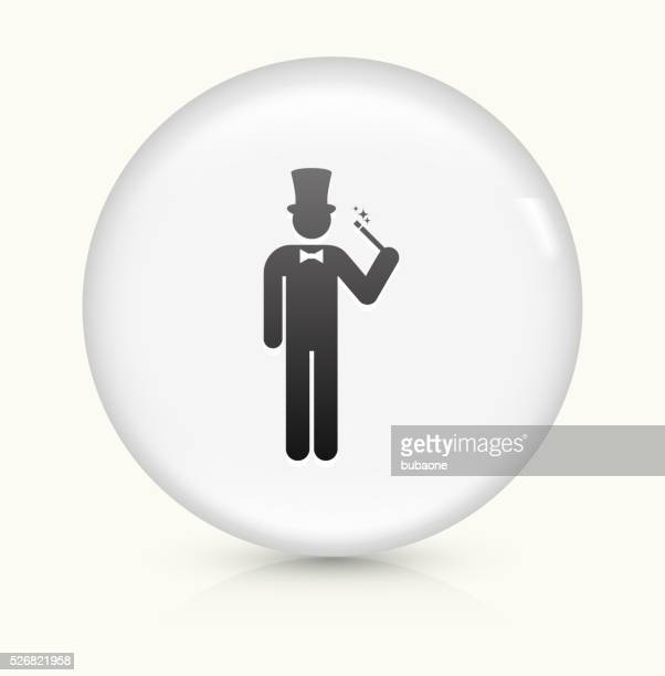 Magician icon on white round vector button