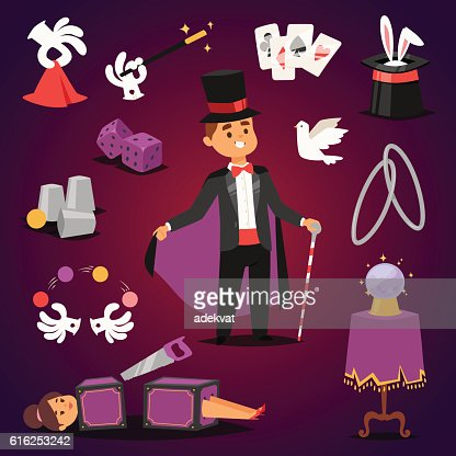 Magician illusionist vector set. : Arte vetorial