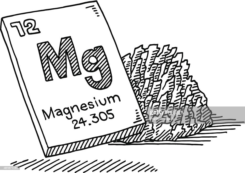 Line Drawing Chemistry : Magnesium chemical element drawing vector art getty images