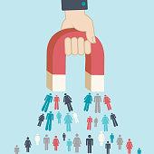Magnet pulling people for inbound lead generation -a digital marketing symbol