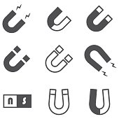magnet vector icons. Simple illustration set of 9 magnet elements, editable icons, can be used in logo, UI and web design
