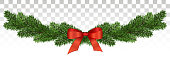 Horizontal banner with christmas tree garland and ornaments.  for flyers, posters, headers. Vector illustration.Eps10.