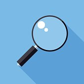 Magnifier icon. Flat Design vector icon. Magnifying glass on blue background